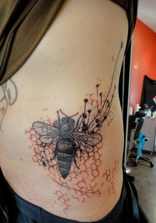 black bee and red honeycomb tattoo on ribs by xoil. Black Bedroom Furniture Sets. Home Design Ideas