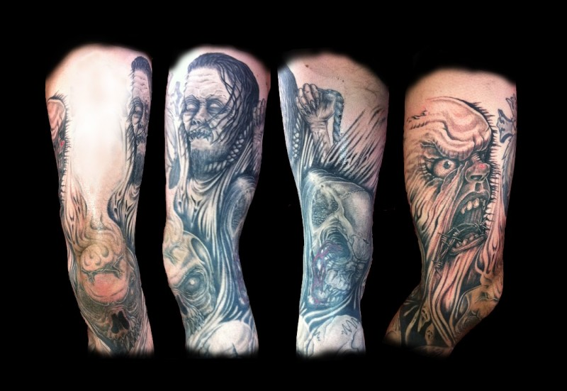 Black colored horrifying monsters with skill tattoo on sleeve area