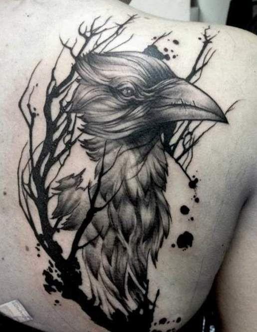 black crows and tree branch tattoo on shoulder blade. Black Bedroom Furniture Sets. Home Design Ideas