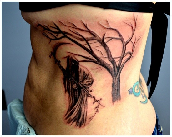 Black death with scythe and tree tattoo on ribs