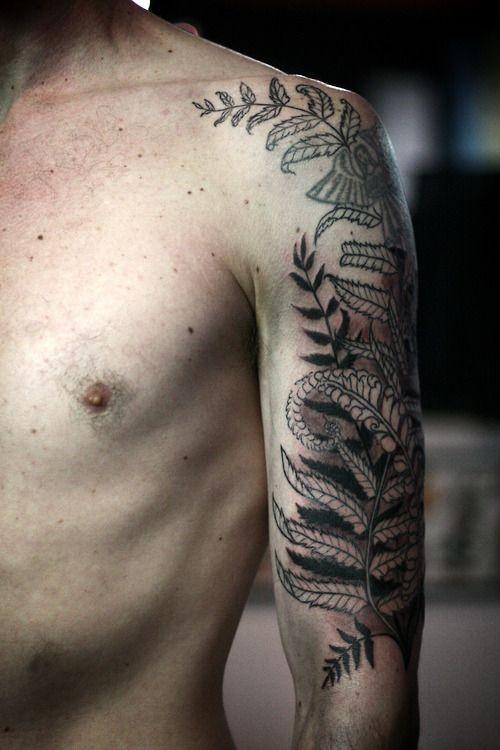 nero felce tatuaggio mezza manica da Alice Carrier