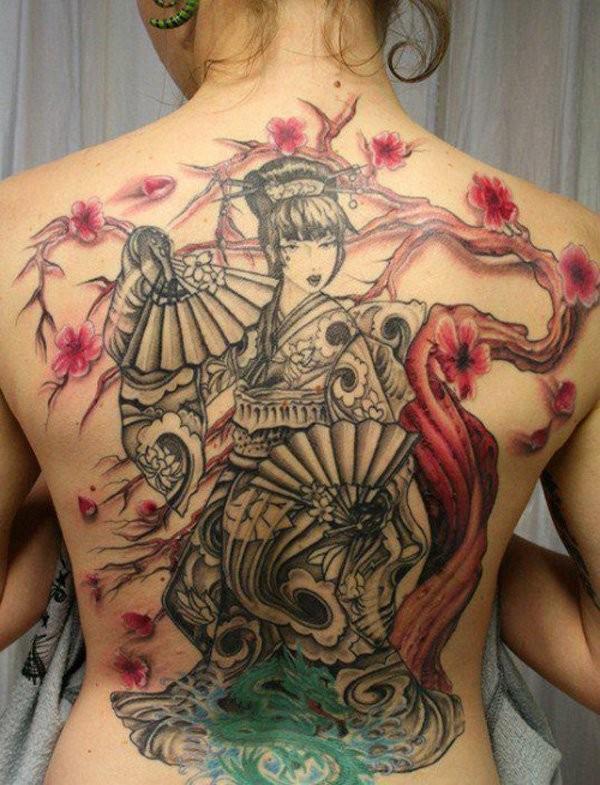 Black geisha and red tree tattoo on back