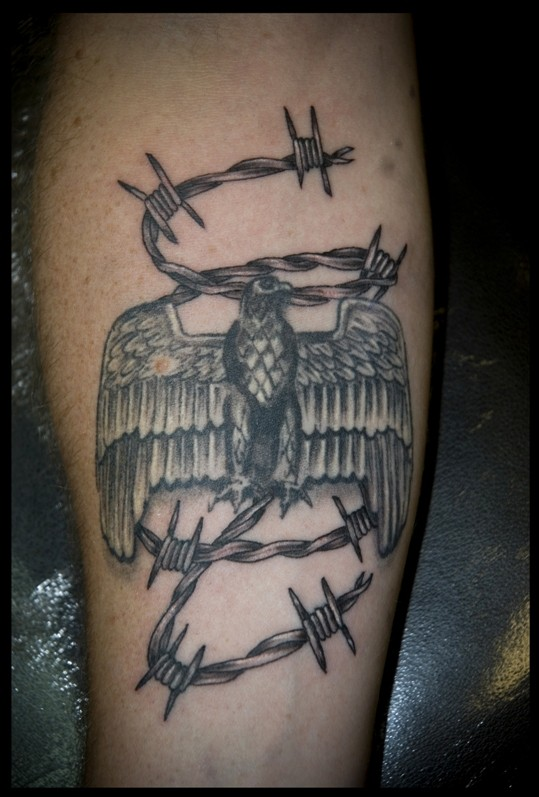 Black gray barbed wire and eagle tattoo