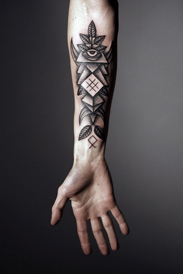 Black gray geometric forearm tattoo