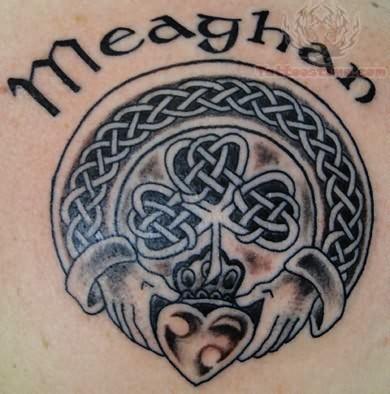 Black gray irish symbol tattoo