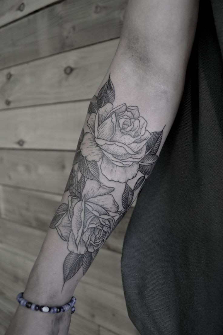 Black gray lines roses forearm tattoo