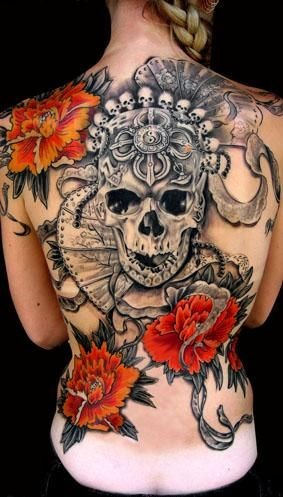 Black gray skull with red flowers tattoo on back