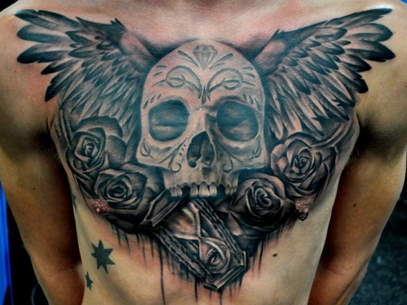 Black gray winged skull with roses and clock chest tattoo
