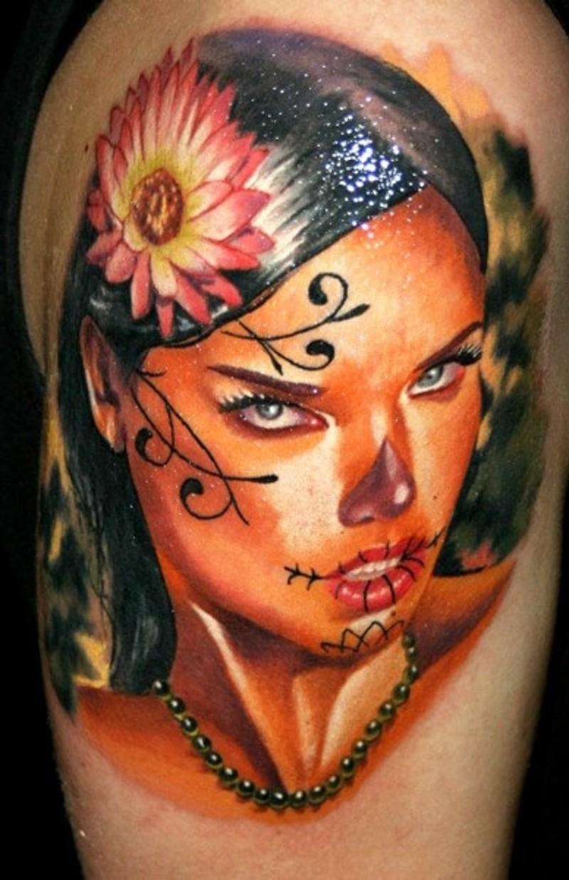 Black hair santa muerte girl with pink flower tattoo