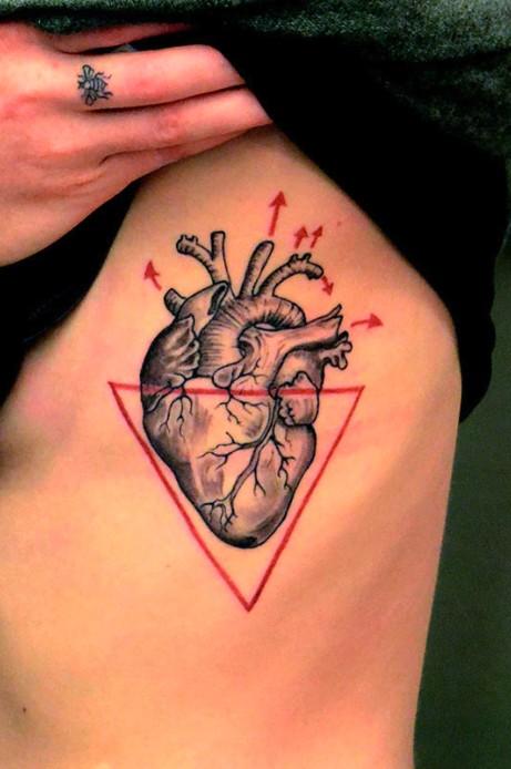 Tatuaje en las costillas, corazón y triángulo rojo