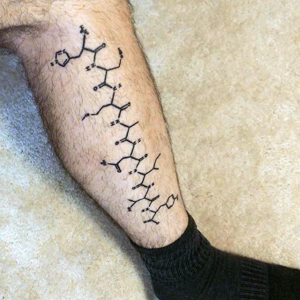 Black ink amazing looking colored leg tattoo of chemistry formula