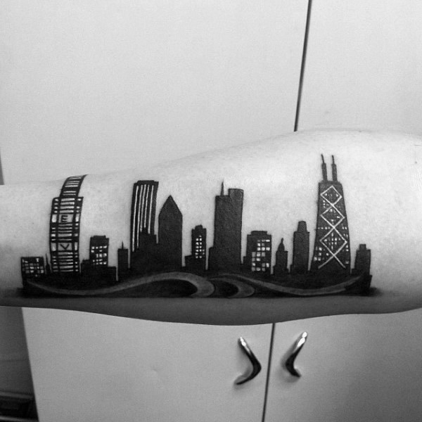 Black ink amazing looking night city sights tattoo on forearm