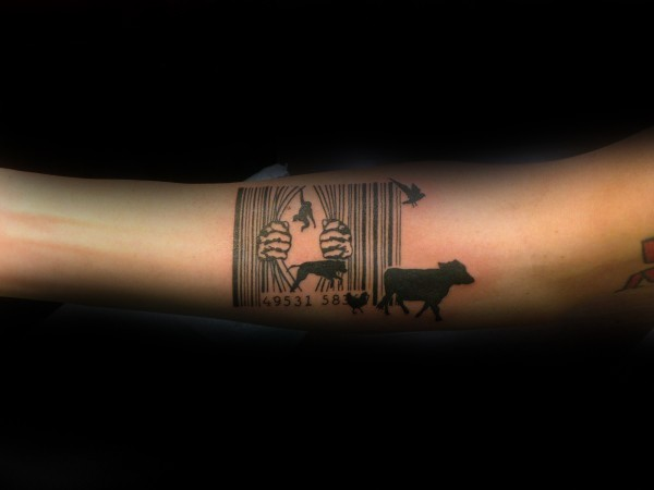 Black ink barcode shaped tattoo with various animals