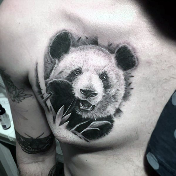 Black ink beautiful looking chest tattoo of lifelike panda bear