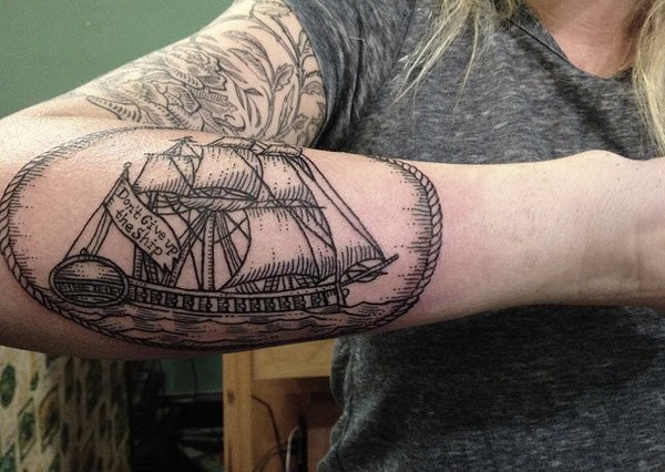 0ca1d3861 Black ink boat forearm tattoo - Tattooimages.biz