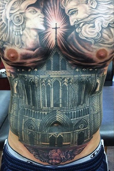 Black ink chest tattoo of big dark catherdral