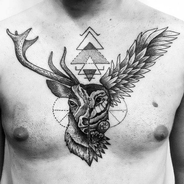 Black Ink Chest Tattoo Of Engraving Style Deer With Owl