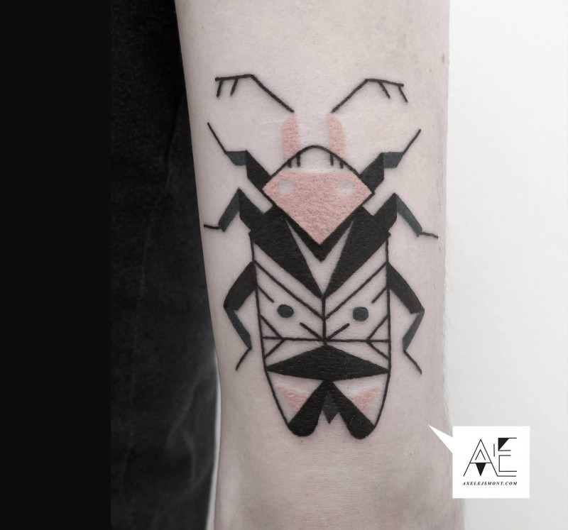 Black ink detailed arm tattoo of big bug