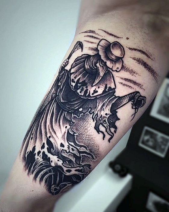 Black ink dot style biceps tattoo of demonic plague doctor
