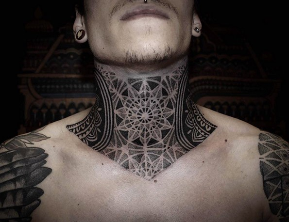 Black ink dot style impressive looking throat tattoo