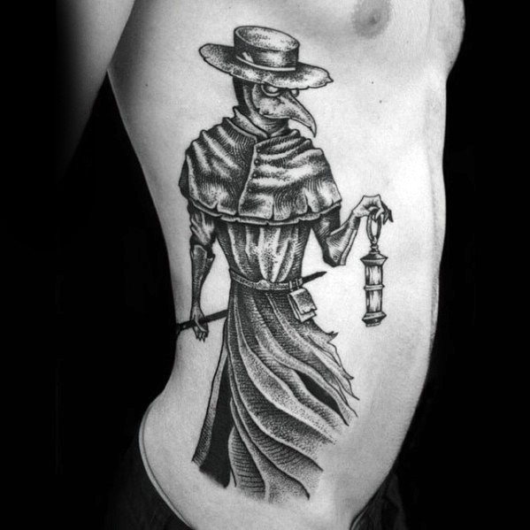 Black ink dot style plague doctor tattoo on side