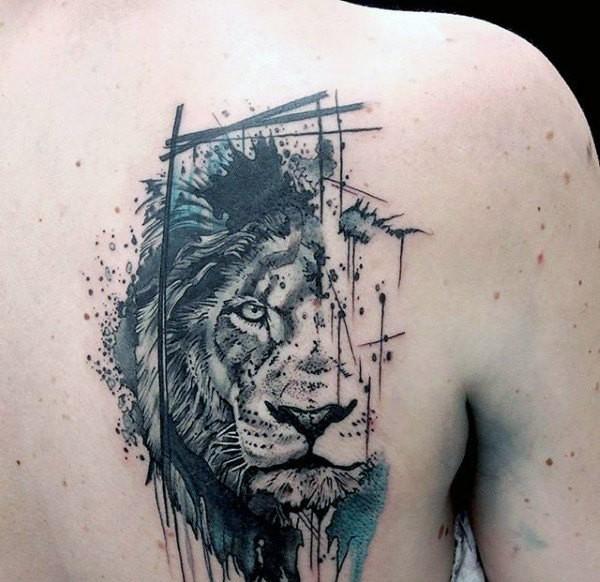 Black ink dot style scapular tattoo of lion portrait