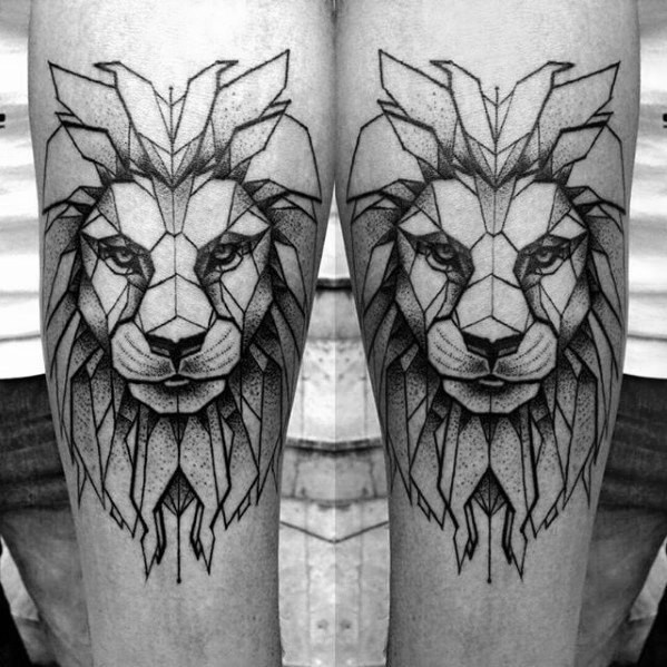 Black ink dot style tattoo of big lion head