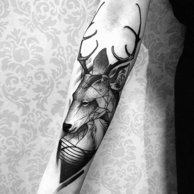 Black ink engraving style forearm tattoo of big deer