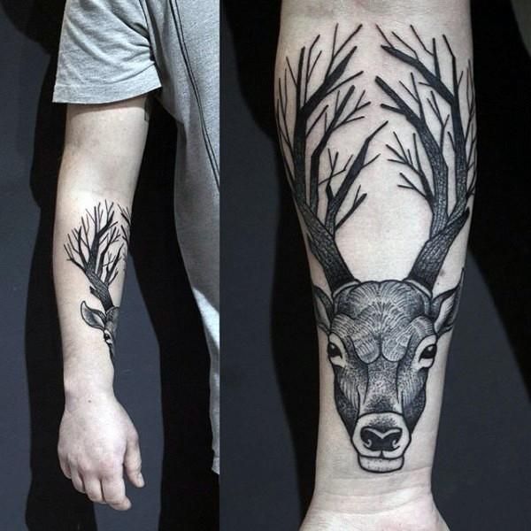 Black ink engraving style forearm tattoo of deers skull