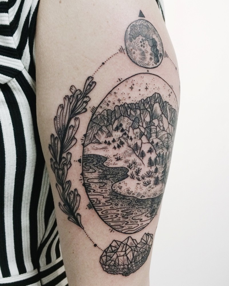 Black ink engraving style shoulder tattoo of mountains picture with moon