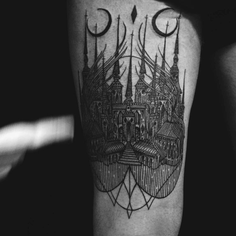 Black ink engraving style thigh tattoo of fantasy Cathedral