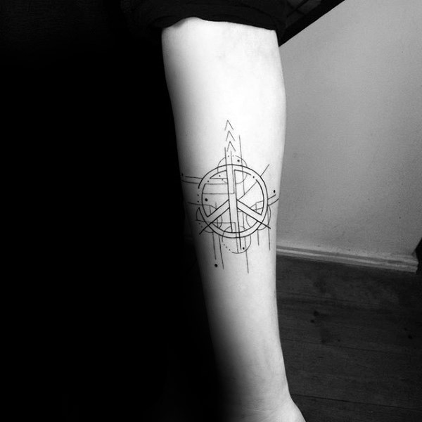 Black ink forearm tattoo of pacific symbol