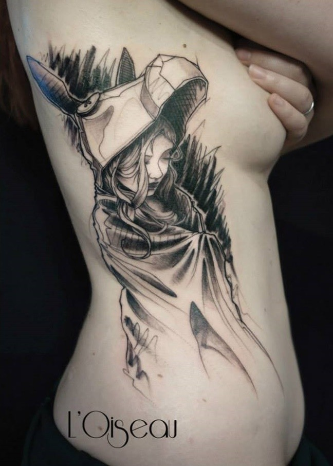 Black ink funny looking side tattoo of woman with donkey helmet