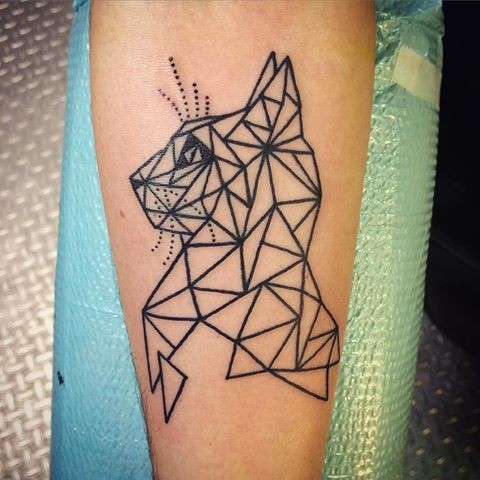 Black ink geometrical style forearm tattoo of cat