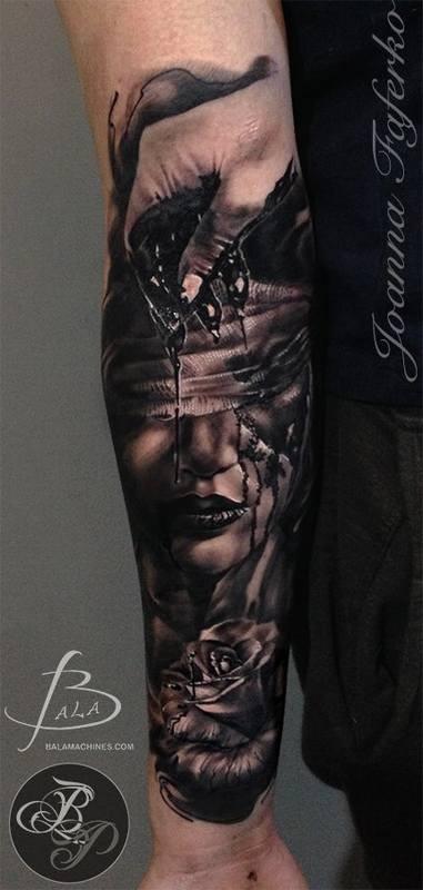 Black Ink Half Sleeve Tattoo Of Creepy Bloody Woman Face