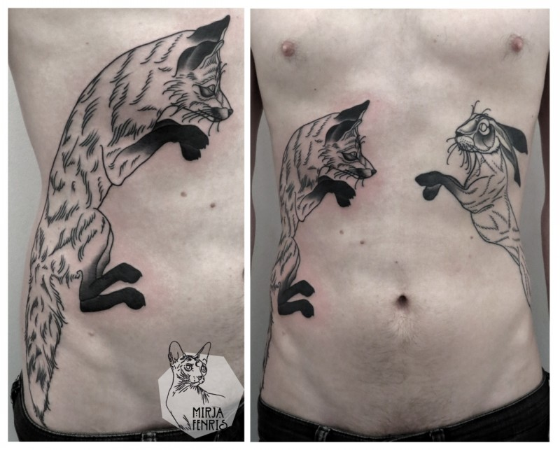 Black ink illustrative style belly tattoo of fox and rabbit