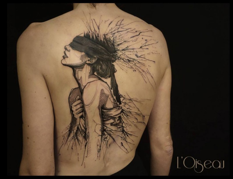 Black ink incredible looking mystical woman tattoo on whole back