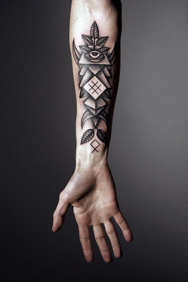 inchiostro nero innovativo geometrico avambraccio tatuaggio