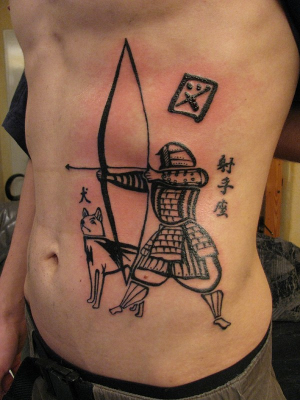 Black ink interesting looking side tattoo of samurai archer with wolf and lettering