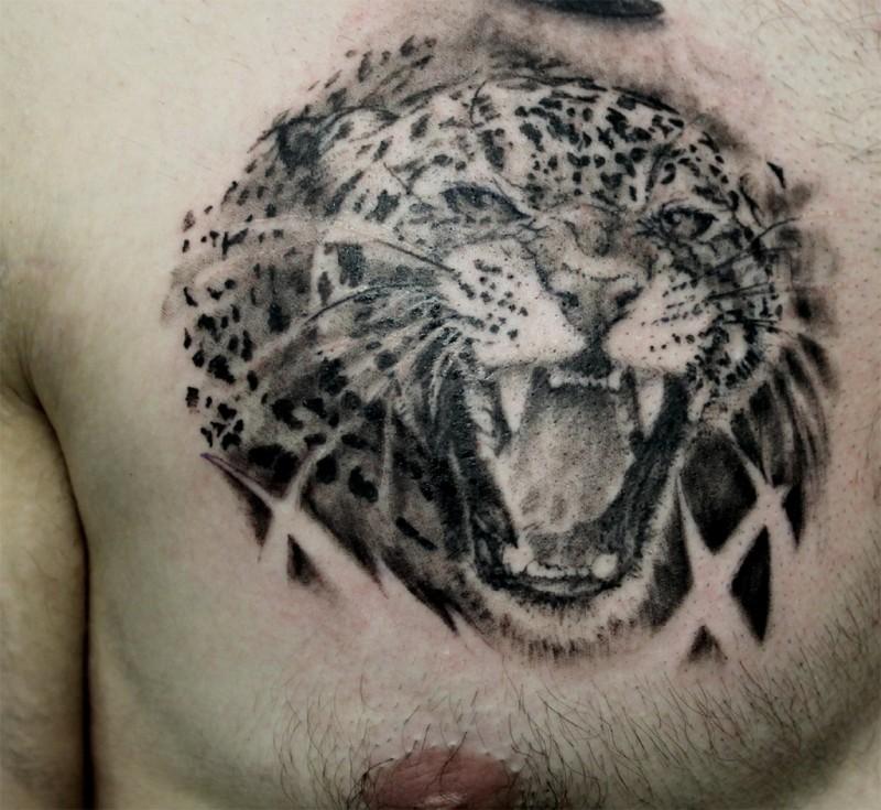 Black Ink Jaguar Growls Tattoo Design