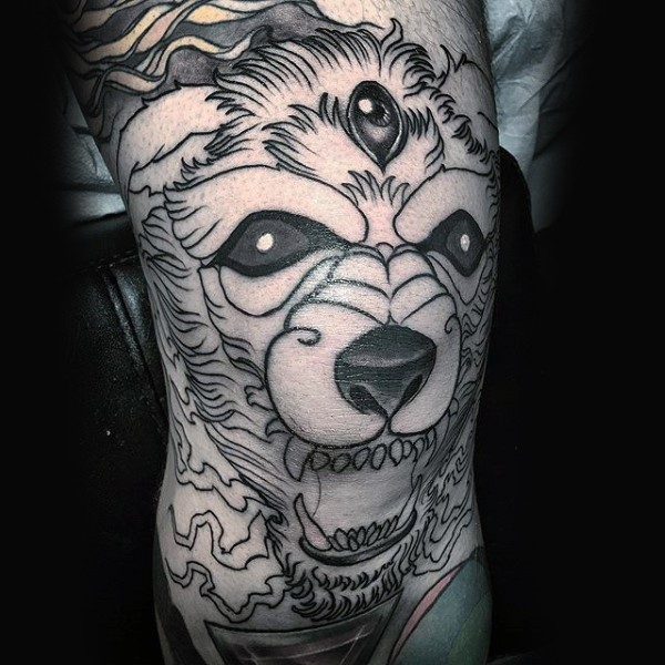Black ink knee tattoo of demonic dog with three eyes