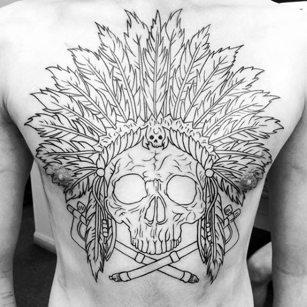 Black ink large chest tattoo of Indian skeleton with crossed swords