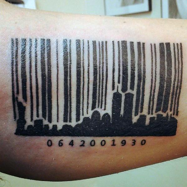 Black ink leg tattoo of city shaped barcode