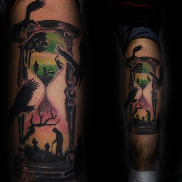 Black ink leg tattoo of sand clock stylized with birds and lifetime