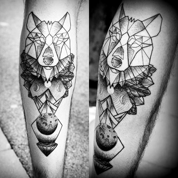 Black ink leg tattoo of unusual wolf head statue