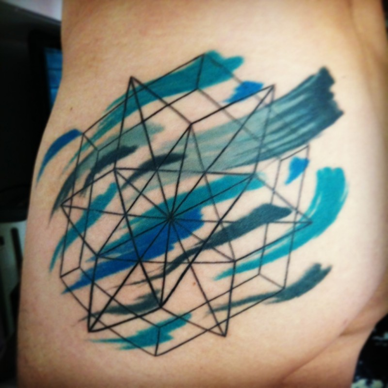 Black ink line work thigh tattoo of symbol with colored lines