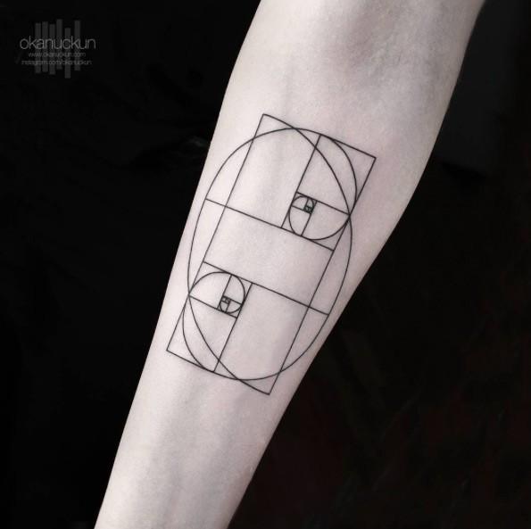 Black ink linework style forearm tattoo of strange geometrical figure