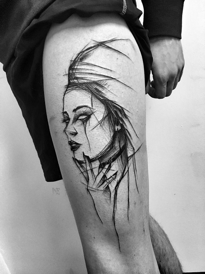 Black ink linework style thigh tattoo of woman portrait