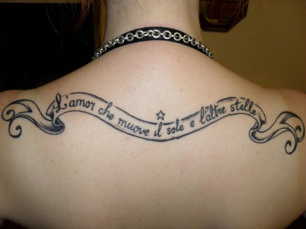 Black ink love rules tattoo on back for women