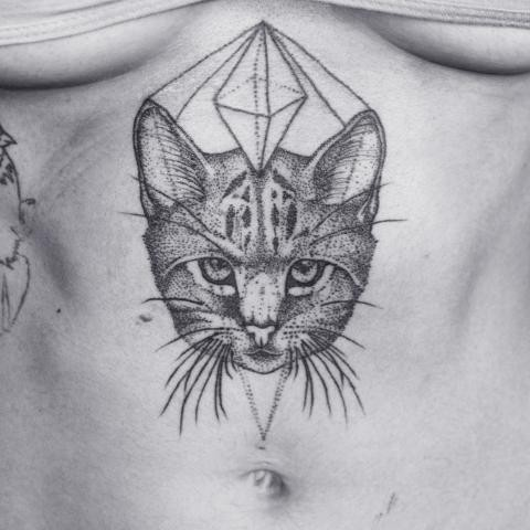 Black ink medium size dot style belly tattoo of cat head with geometrical figure